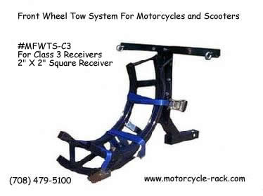 Motorcycle front wheel towing
